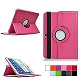 COOVY Etui pour Samsung Galaxy Tab 4 10.1 SM-T530 SM-T531 SM-T535 Coque de Protection Rotation 360° Smart Housse Cover Case Stand Auto Réveil/Sommeil | Rose Vif