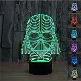 SmartEra 7 Color 3D Star War Darth Vader Night LED Desk Table Light - Black