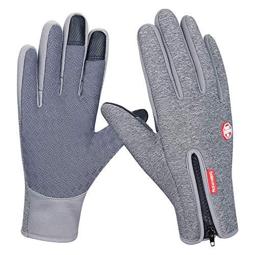 coskefy Sporthandschuhe Warm Touchscreen Herren Damen Winter Gefüttert Outdoor Winddicht Rutschfest Gloves Camping Wandern Reiten Bergsteigen Laufen verstellbar Fahrradhandschuhe (S, Grau)