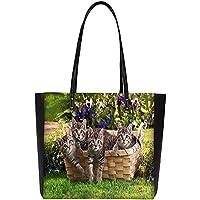 Snoogg Cats In Baskets Large Shoulder Bag Tote Faux Leather Handbag Satchel Tote