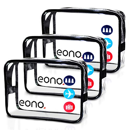 Eono by Amazon - Clear Toiletry Bag Travel Luggage Pouch Make up Cosmetic Bag Brushes Organizer for Women Men Kids Waterproof Shower Wash Bags Organizer (Clear 3 Pack) -