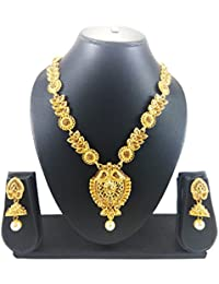 Luxaim Latest Beautiful Antique Flower Design Gold-Plated Traditional Necklace Set With Earrings, Designer Necklace...