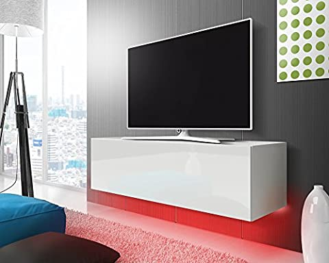 Tv meuble Lana (blanc mat/blanc brillant)/140 cm/LED rouge