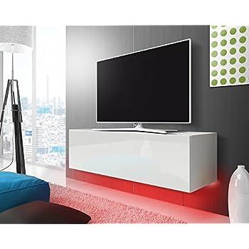 TV Schrank Lowboard Hängeboard SIMPLE mit LED Rot (weiß matt ...