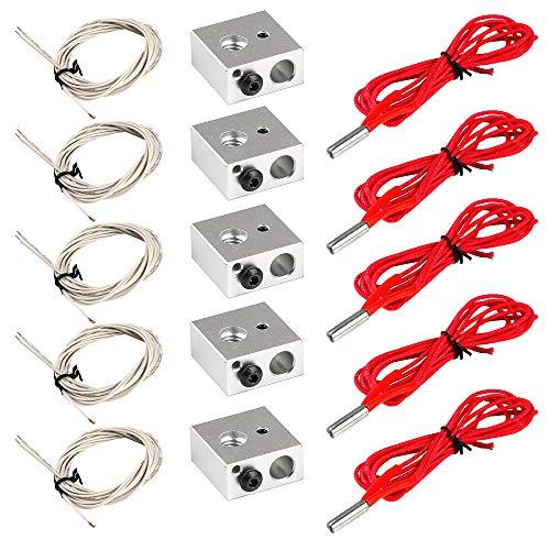 5 stücke Aluminium Heizblock für MK7 / MK8 3D Drucker und 5 stücke NTC 3950 100 K Thermistor mit 1 Meter Verdrahtung und 5 stücke 12 V 40 Watt 620 Keramik Heizpatrone für 3D Drucker -