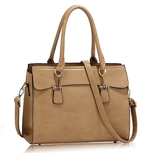 Frau Schulter Taschen Faux Leder Handtasche oben Griff Taschen zum Frau mit Gold Metall Arbeit lange Gurt Handtaschen und Polka Punkte Stoff innen Taupe