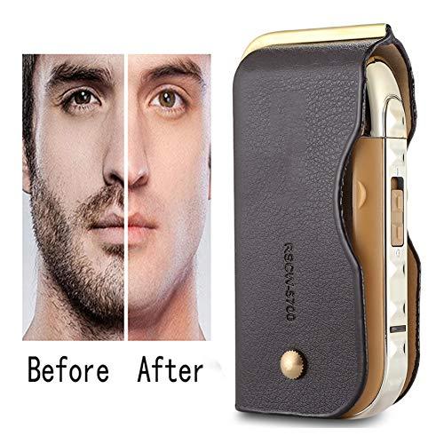 LFF SHAVER Maquinilla de Afeitar eléctrica para Hombres, Mini afeitadora recíproca de Cuero Vintage con Corte de Barba para Viajes y hogar