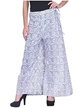 Indian Handicrfats Export Nika Fusion Flared Women's Blue, White Trousers