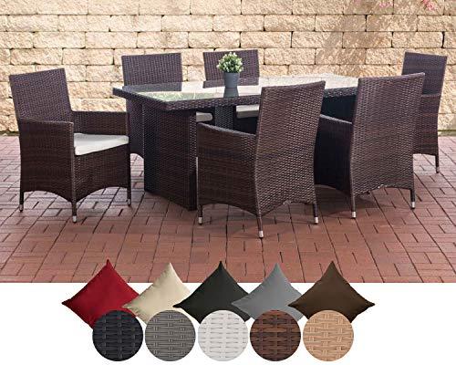 CLP Polyrattan Sitzgruppe Avignon (Tisch 180 x 90 cm + 6 x Polyrattan Stuhl Julia + Sitzauflagen), bis zu 7 Rattan-Farben + 5 Bezugsfarben wählbar Rattanfarbe: Pink, Bezugfarbe: Rubinrot