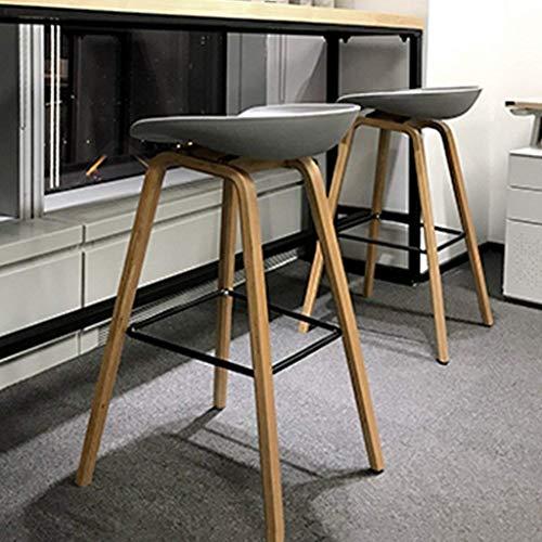 Wisdom Moderner minimalistischer Barhocker Vollholzbarhocker kreativer Barstuhl beiläufiger Designerhocker Nordischer Vorderschreibtischstuhl,Grün Grau