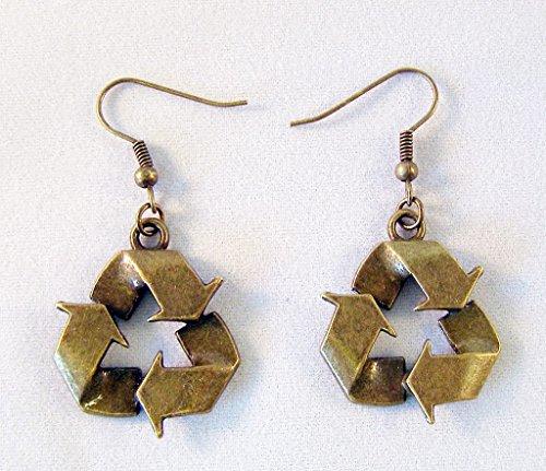 Kostüm Recycling - Recycling Symbol Ohrringe, Bronze Farbe Charms und Haken Modern Style 2,5cm Drop