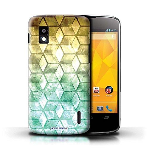 Kobalt® Imprimé Etui / Coque pour LG Nexus 4/E960 / Violet / Orange conception / Série Cubes colorés Jaun/Vert