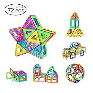 Bloques Magnéticos de Construcciones, Amztronics Piezas Magnéticas en 3D Bloques de Construccion Imantados con 72 Piezas Inspira Set Estándar de Construcción - Juguetes Creativos y Educativos - Bolsa de Almacenamiento Juguetes para Niños de Amztronics