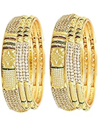 Sitashi 18 K Gold Plated Alloy & Pearl Fashion Jewellery Combo Of Bangles Set For Girls And Women