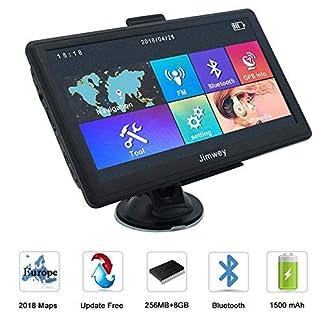 Jimwey-Satelliten-Navigationssystem-178-cm-7-Zoll-Bluetooth-8-GB-256-MB-Auto-LKW-Navigator-Gert-mit-Postleitzahlensuche-Geschwindigkeitskamera-Warnungen-vorinstallierte-Neueste-2018-EU-UK-Karten-leben