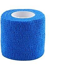5 Rolls Adhesivo Elástico Vendaje Adherente Cohesivo Vendajes Primeros Auxilios Adherente Rap Tape para Deportes al Aire Libre ( Color : Azul )