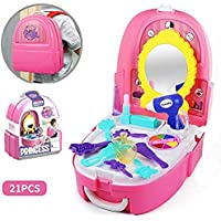 WenToyce Pretend Play Make up Kit Little Girls Dress-up Fake Cosmetic Set with Storage Backpack Box 20 Pcs Kids Beauty…