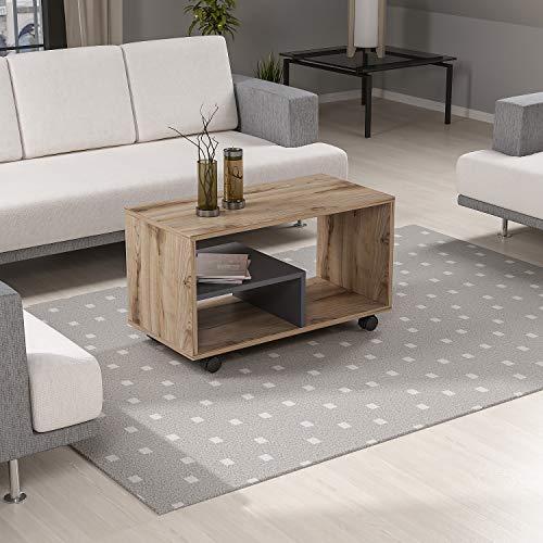 Reboz Couchtisch 80 x 40 cm Fichte-Alpin Nachbildung Anthrazit Tisch Wohnzimmertisch