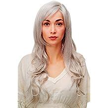 WIG ME UP ® - 9204S-51 Peluca larga de color blanco-gris mezclado ondulado/rizado flequillo y raya a un lado aprox.70cm
