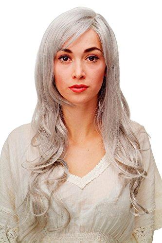 WIG ME UP ® - 9204S-51 Perücke mit weiß-grau gemischten, langen, wunderschön gelockten/welligen Haaren, Pony und Seitenscheitel, ca. ()