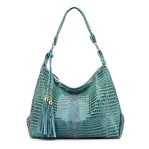 Genuine Leather Women Hobos Crocodile Pattern Shoulder Handbag with Tassel by Realer Blue