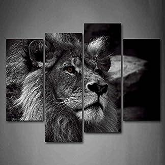 Nero E bianca Grigio Leone Capo Ritratto Pittura di arte della parete La stampa su tela di canapa Animale Quadri d'illustrazione per l'ufficio domestico Decorazione moderna