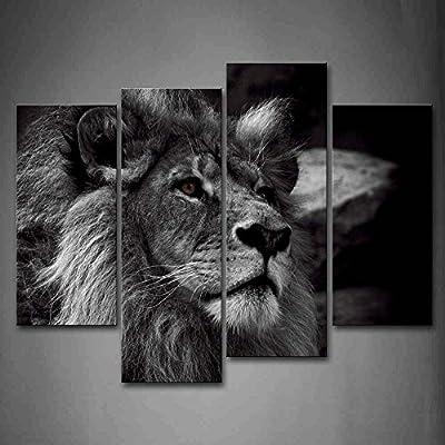 First Wall Art Nero E Bianca Grigio Leone Capo Ritratto Pittura di Arte della Parete La Stampa su Tela di Canapa Animale Quadri d'illustrazione per L'Ufficio Domestico Decorazione Moderna
