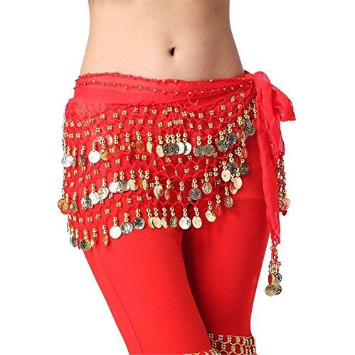 Dance Accessories Lndian Dance Tribal Danse du ventre costume Hip écharpe 3 Rangées 158 Coins Light Green