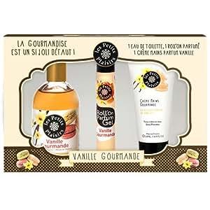 Les Petits Plaisirs Coffret Eau de Toilette Vanille Gourmande 110ml + Roll 'on Gel 20ml + Crème pour Mains 50ml