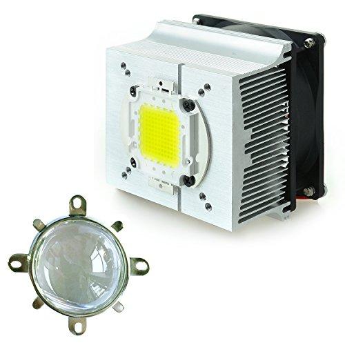 Tesfish Kupferkern Aluminiumlegierung Kühler + 57mm Linse 60 Grad Für 30W 50W 100W Hohe Leistung LED Led-lampe Anlage Wachsen