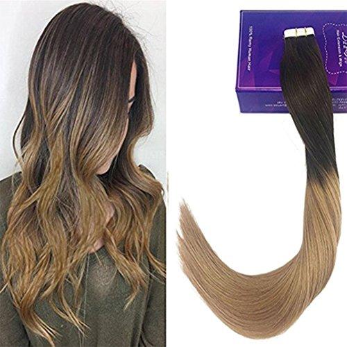 Laavoo 18 pollici nastro biadesivo 20s #4t10 marrone scuro ombre marrone chiaro seamless hair extensions human hair 50g
