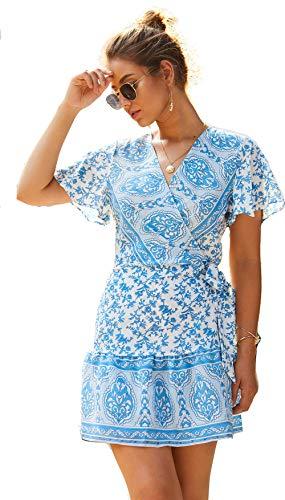 Semir abito da donna con scollo a v sexy con stampa floreale mini abito da sposa vintage con stampa a fascia blu m