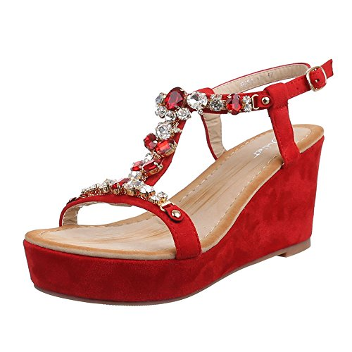 Damen Schuhe, HJ99-18, SANDALETTEN KEIL WEDGES PLATEAU PUMPS Rot