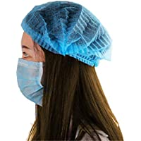 Kodenipr Club 100 Disposable Stretchable Blue Bouffant Caps/Surgical Caps/Cooking Caps (100 Pieces)