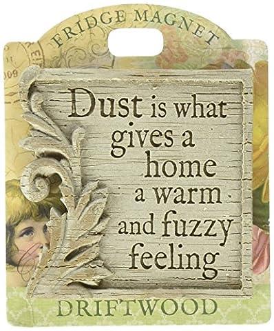 'Dust est ce qui donne un home chaud, fuzzy feeling'no.28–Bois flotté-aimants pour réfrigérateur avec dessin animé Sentimental Messages &H-H inspiration Vintage