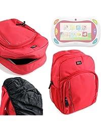 DURAGADGET Mochila Para Niños Roja Para Gioco Happy Tablet 5710 De Chicco + Funda Impermeable -