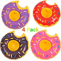 Diligencer 4 Pack Donut Inflatable Drink Holders For Pool Beach Bathtub Summer Baby Toddlers Adults Party Floating Coasters