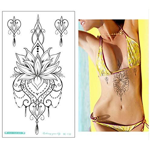 Tzxdbh nuovi disegni chest flash tattoo grande fiore orecchini collana spalla braccio sterno tatuaggi corpo henné/pittura posteriore