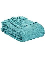"""AmazonBasics Chunky Knitted Fringed Blanket - Porcelain, 60"""" x 80"""""""