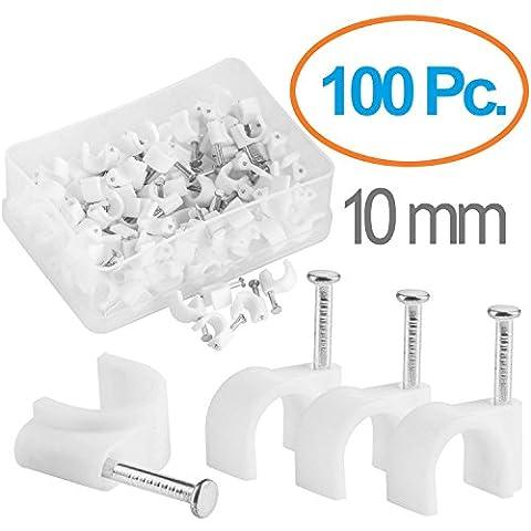 MutecPower Kabelschelle 10mm rund Nagelschelle weiß - 100 Stück
