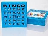200 große Bingokarten für Senioren 24 aus 75 mit Joker in der Mitte (blau)