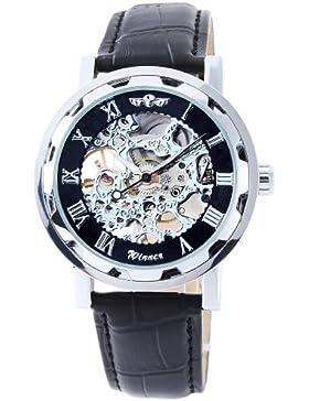 OrrOrr Skelett Elegante Klassisch mechanische Handaufzug Herrenuhr Armbanduhr Uhr - silbern & schwarz