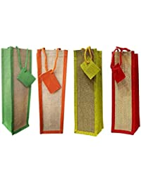Bubby Set Of 4 Natural Jute Wine Bag