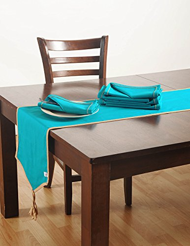 Aqua Blue Table Linens Set with 6 Dinner Napkins And Table Runner...