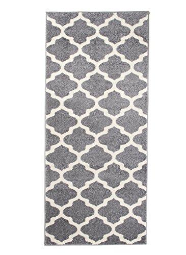 Carpeto Läufer Teppich Modern Grau 70 x 300 cm Marokkanisches Muster Kurzflor Furuvik Kollektion Grau-muster