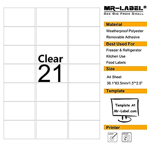 Mr-Label® Clear Removable Adhesive Labels –Transparent Tear-Resistant Waterproof Stickers for
