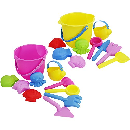 COM-FOUR® 20-teiliges Spielzeug-Set, Spieleset für Strand und Sandkasten in lustigen farben