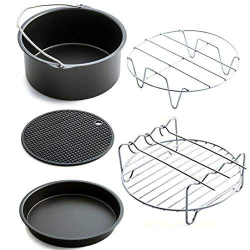 5 unids/set Accesorios de la Freidora de Aire Para Hornear Cesta Pizza Placa Grill Pot Pan Mat