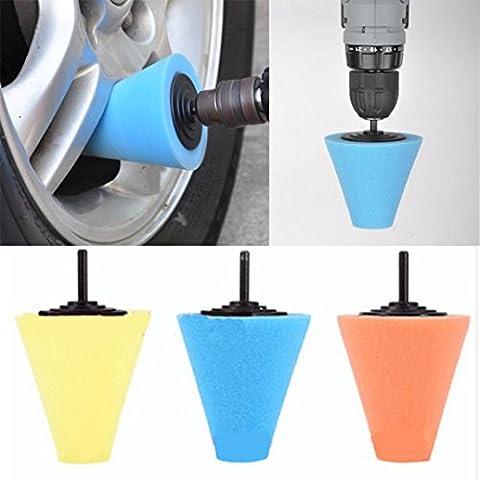 Gaddrt Moyeu de roue polissage tige polie lustre en métal éponge cône de mousse 6 mm pour roues de voiture