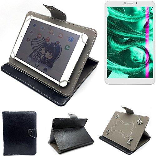 K-S-Trade Schutz Hülle Tablet Case für Kiano Slimtab 8 3G, schwarz. Tablet Hülle mit Standfunktion Ultra Slim Bookstyle Tasche Kunstleder